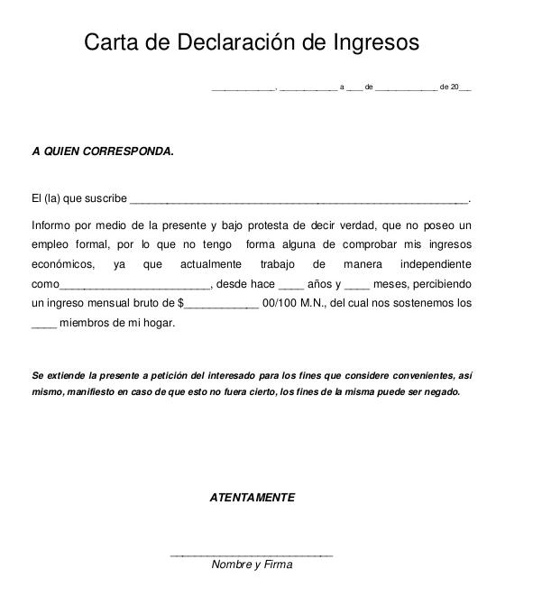 Carta laboral de ingresos