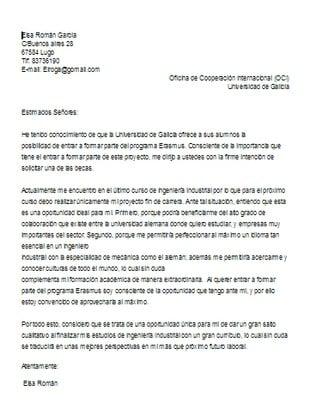Ejemplo Carta De Motivacion Para Beca Erasmus Ejemplos De